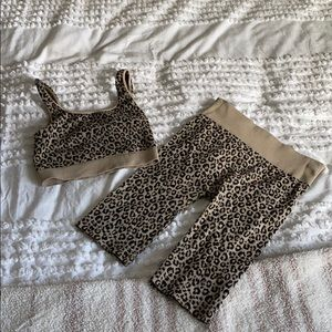 Leopard stretchy matching set bra & biker shorts
